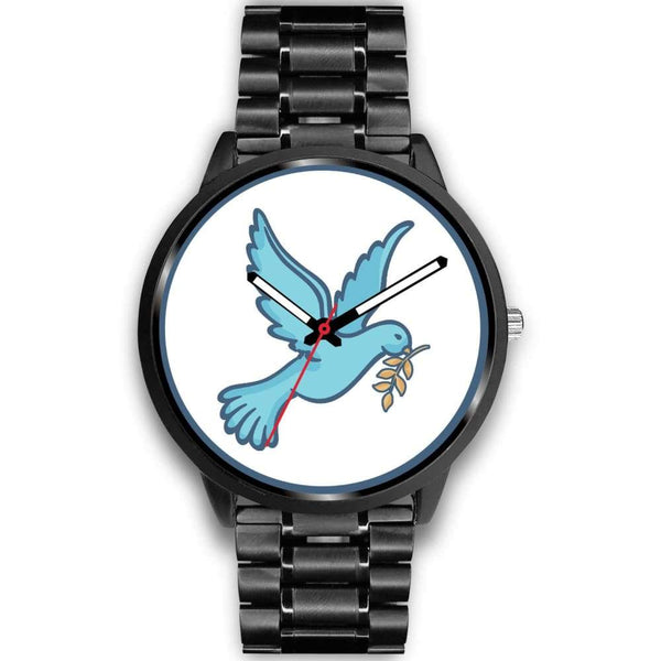 Dove Christian Peace Symbol Custom-Designed Wrist Watch - Mens 40Mm / Black Metal Link - Black Watch