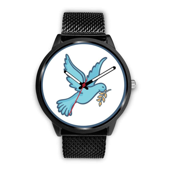 Dove Christian Peace Symbol Custom-Designed Wrist Watch - Mens 40Mm / Black Metal Mesh - Black Watch