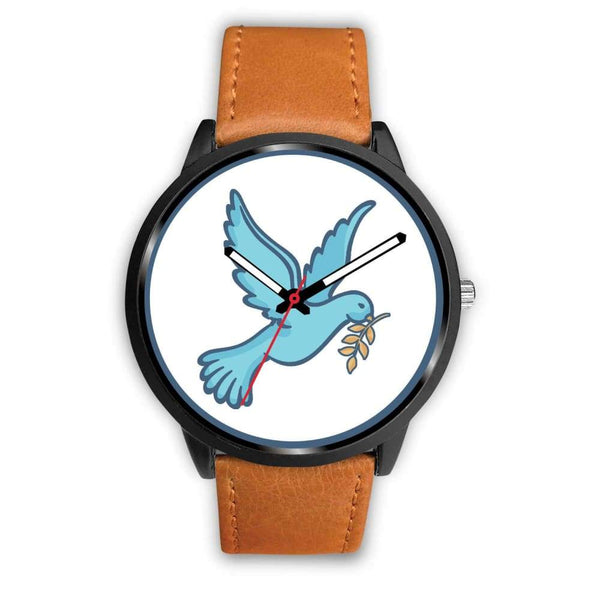 Dove Christian Peace Symbol Custom-Designed Wrist Watch - Mens 40Mm / Brown Leather - Black Watch