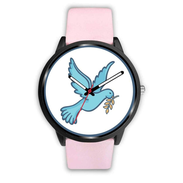 Dove Christian Peace Symbol Custom-Designed Wrist Watch - Mens 40Mm / Pink Leather - Black Watch