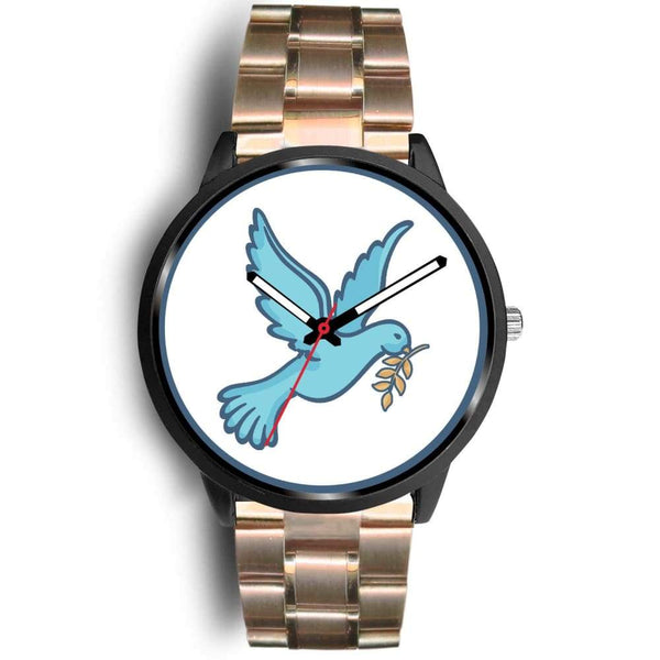 Dove Christian Peace Symbol Custom-Designed Wrist Watch - Mens 40Mm / Rose Gold Metal Link - Black Watch