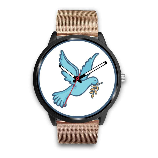 Dove Christian Peace Symbol Custom-Designed Wrist Watch - Mens 40Mm / Rose Gold Metal Mesh - Black Watch