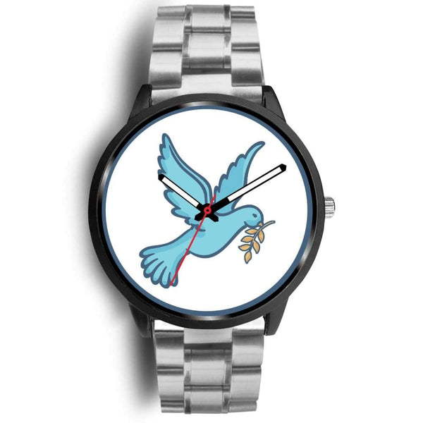 Dove Christian Peace Symbol Custom-Designed Wrist Watch - Mens 40Mm / Silver Metal Link - Black Watch