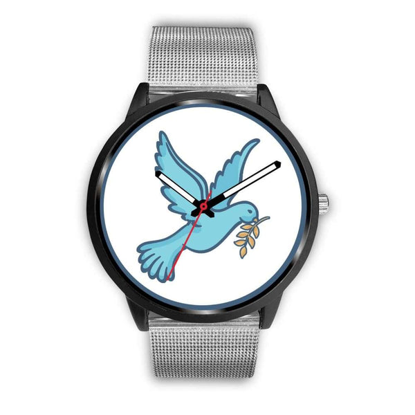 Dove Christian Peace Symbol Custom-Designed Wrist Watch - Mens 40Mm / Silver Metal Mesh - Black Watch