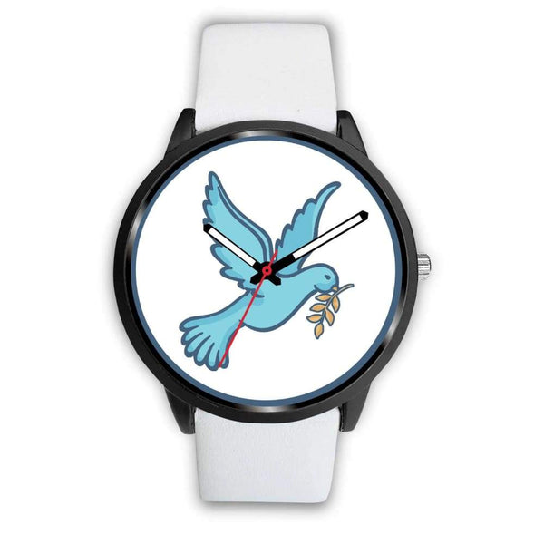 Dove Christian Peace Symbol Custom-Designed Wrist Watch - Mens 40Mm / White Leather - Black Watch