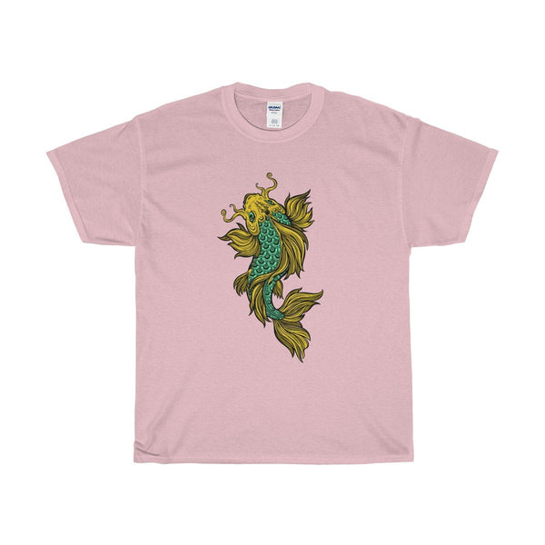 Unisex Heavy Cotton Tee, Colourful Buddhist Golden Fish Coy Carp Design T-shirt