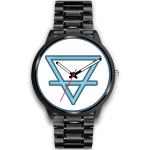 Earth Element Alchemy Symbol Custom-Designed Wrist Watch - Mens 40Mm / Black Metal Link - Black Watch