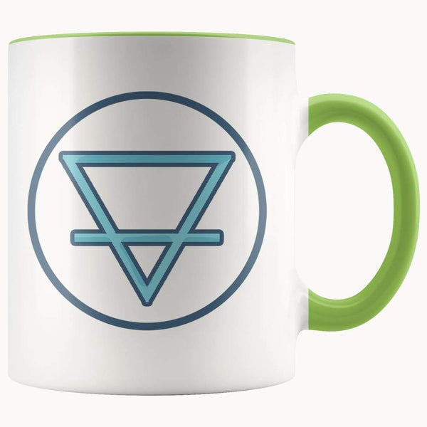 Earth Element Alchemy Wiccan Symbol 11Oz. Ceramic White Mug - Green - Drinkware