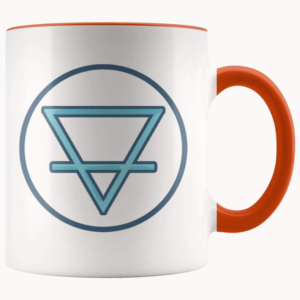 Earth Element Alchemy Wiccan Symbol 11Oz. Ceramic White Mug - Orange - Drinkware