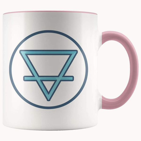Earth Element Alchemy Wiccan Symbol 11Oz. Ceramic White Mug - Pink - Drinkware