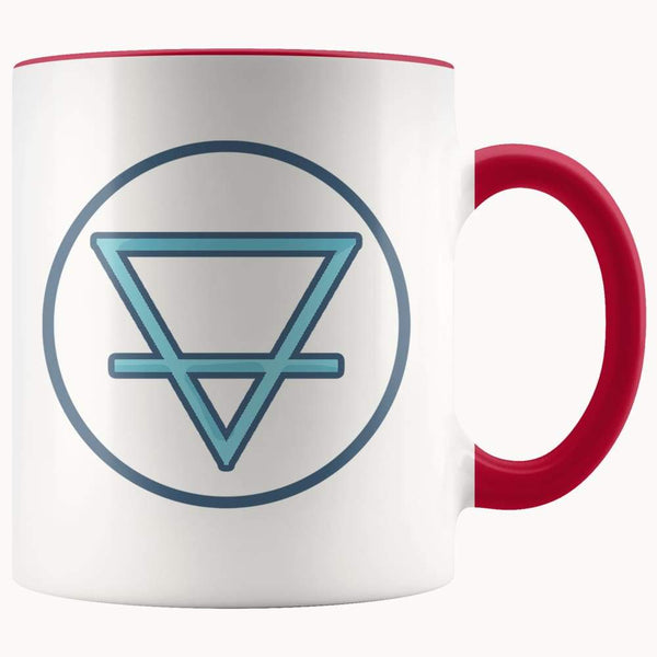 Earth Element Alchemy Wiccan Symbol 11Oz. Ceramic White Mug - Red - Drinkware