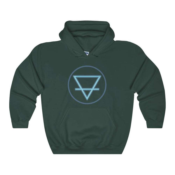 Earth Element Alchemy Wiccan Symbol Unisex Heavy Blend Hooded Sweatshirt - Forest Green / S - Hoodie