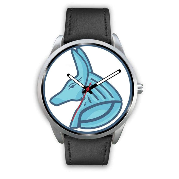 Egyptian God Anubis Ancient Egypt Symbol Custom-Designed Wrist Watch - Mens 40Mm / Black Leather - Silver Watch
