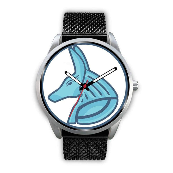 Egyptian God Anubis Ancient Egypt Symbol Custom-Designed Wrist Watch - Mens 40Mm / Black Metal Mesh - Silver Watch