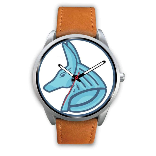 Egyptian God Anubis Ancient Egypt Symbol Custom-Designed Wrist Watch - Mens 40Mm / Brown Leather - Silver Watch