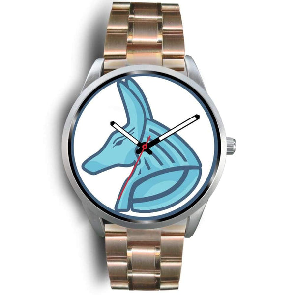 Egyptian God Anubis Ancient Egypt Symbol Custom-Designed Wrist Watch - Mens 40Mm / Rose Gold Metal Link - Silver Watch