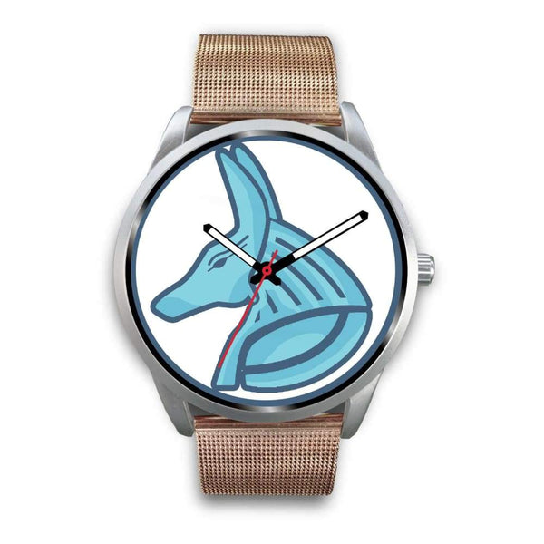 Egyptian God Anubis Ancient Egypt Symbol Custom-Designed Wrist Watch - Mens 40Mm / Rose Gold Metal Mesh - Silver Watch