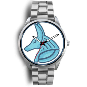 Egyptian God Anubis Ancient Egypt Symbol Custom-Designed Wrist Watch - Mens 40Mm / Silver Metal Link - Silver Watch