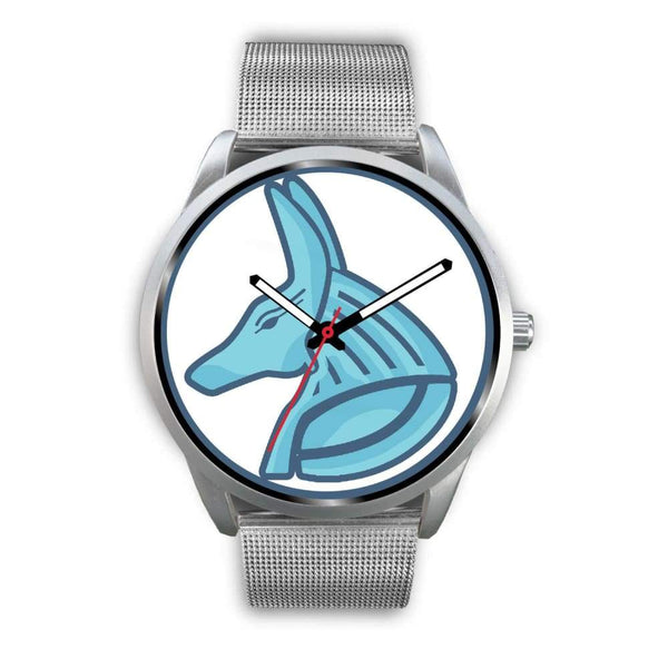 Egyptian God Anubis Ancient Egypt Symbol Custom-Designed Wrist Watch - Mens 40Mm / Silver Metal Mesh - Silver Watch