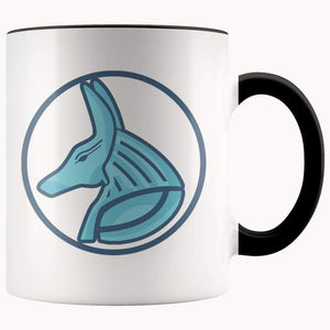 Egyptian God Anubis Symbol 11Oz. Ceramic White Mug - Black - Drinkware