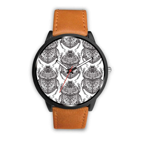 Egyptian Scarab Beetle Design. Ancient Egypt Symbol Pattern Custom-Designed Wrist Watch - Mens 40Mm / Brown - Watch