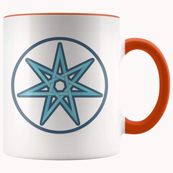 Elven Star Wiccan Spiritual Symbol 11Oz. Ceramic White Mug - Orange - Drinkware