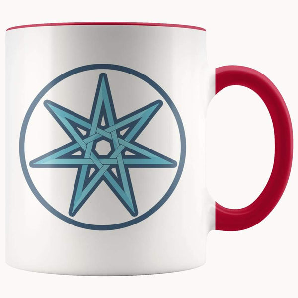 Elven Star Wiccan Spiritual Symbol 11Oz. Ceramic White Mug - Red - Drinkware