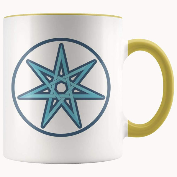 Elven Star Wiccan Spiritual Symbol 11Oz. Ceramic White Mug - Yellow - Drinkware