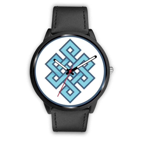 Endless Knot Buddhist Symbol Custom-Designed Wrist Watch - Mens 40Mm / Black Leather - Black Watch