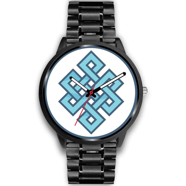 Endless Knot Buddhist Symbol Custom-Designed Wrist Watch - Mens 40Mm / Black Metal Link - Black Watch