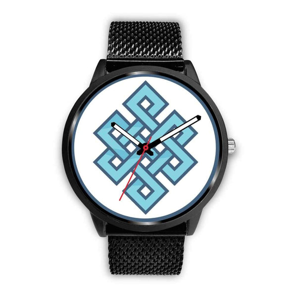 Endless Knot Buddhist Symbol Custom-Designed Wrist Watch - Mens 40Mm / Black Metal Mesh - Black Watch