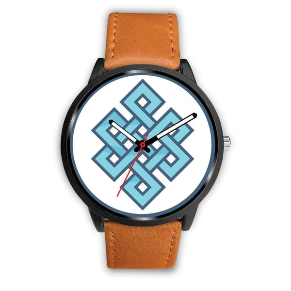 Endless Knot Buddhist Symbol Custom-Designed Wrist Watch - Mens 40Mm / Brown Leather - Black Watch