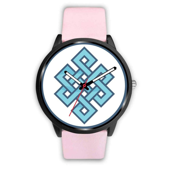 Endless Knot Buddhist Symbol Custom-Designed Wrist Watch - Mens 40Mm / Pink Leather - Black Watch
