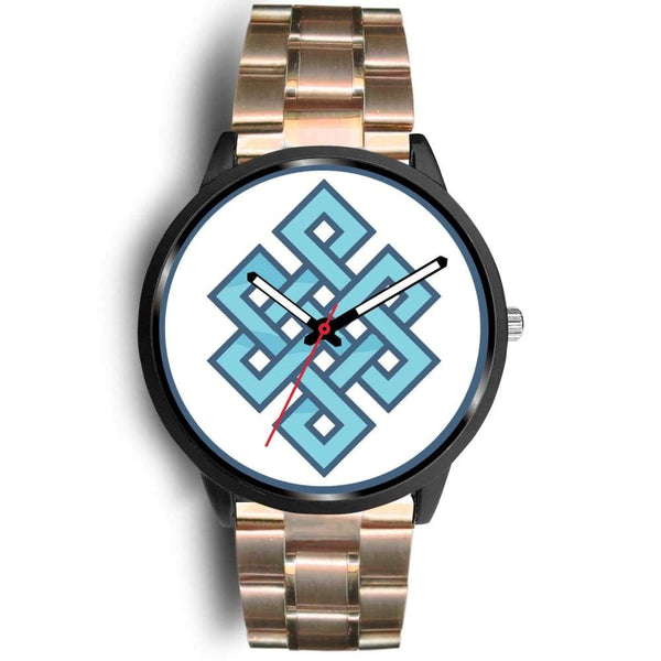 Endless Knot Buddhist Symbol Custom-Designed Wrist Watch - Mens 40Mm / Rose Gold Metal Link - Black Watch