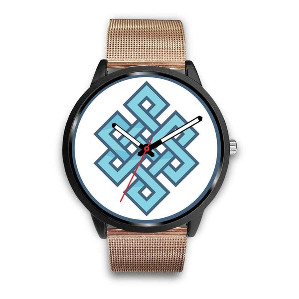Endless Knot Buddhist Symbol Custom-Designed Wrist Watch - Mens 40Mm / Rose Gold Metal Mesh - Black Watch
