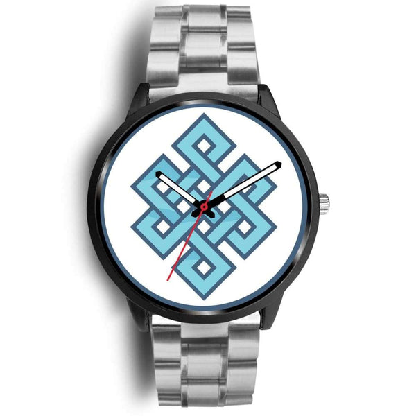 Endless Knot Buddhist Symbol Custom-Designed Wrist Watch - Mens 40Mm / Silver Metal Link - Black Watch
