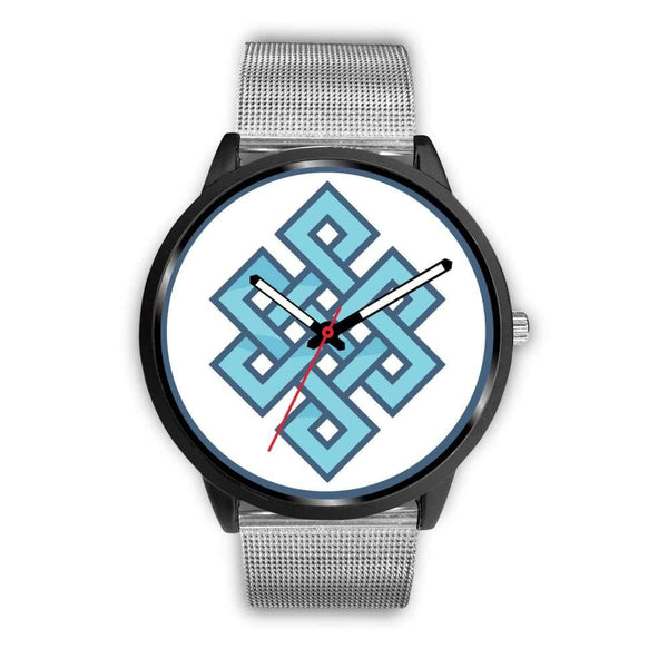 Endless Knot Buddhist Symbol Custom-Designed Wrist Watch - Mens 40Mm / Silver Metal Mesh - Black Watch