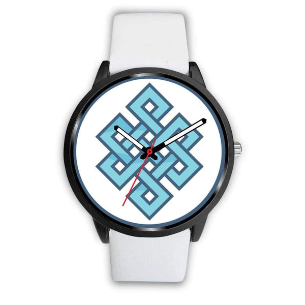 Endless Knot Buddhist Symbol Custom-Designed Wrist Watch - Mens 40Mm / White Leather - Black Watch