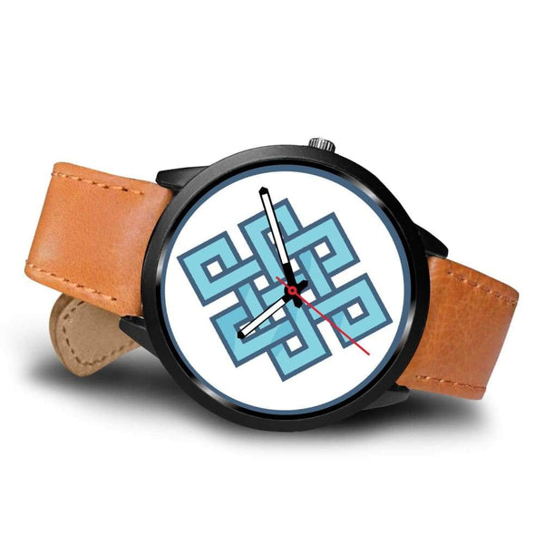 Endless Knot Buddhist Symbol Custom-Designed Wrist Watch - Black Watch