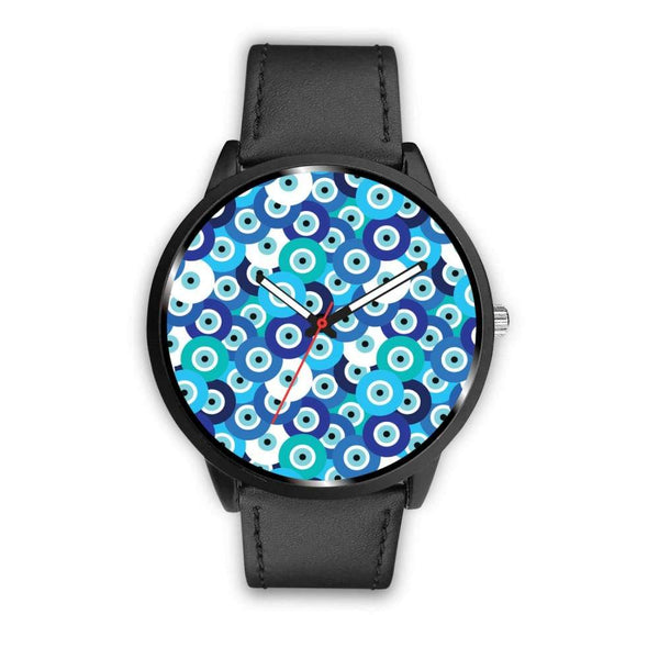 Evil Eye Design Multi Turkish Evil Eye Pattern Custom-Designed Wrist Watch - Mens 40Mm / Black - Watch