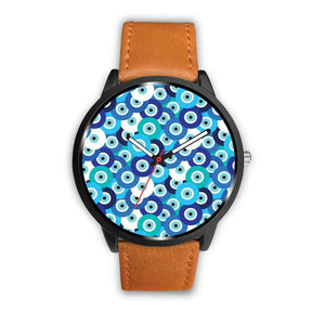 Evil Eye Design Multi Turkish Evil Eye Pattern Custom-Designed Wrist Watch - Mens 40Mm / Brown - Watch