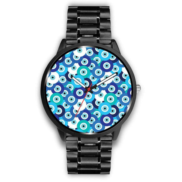 Evil Eye Design Multi Turkish Evil Eye Pattern Custom-Designed Wrist Watch - Mens 40Mm / Metal Link - Watch