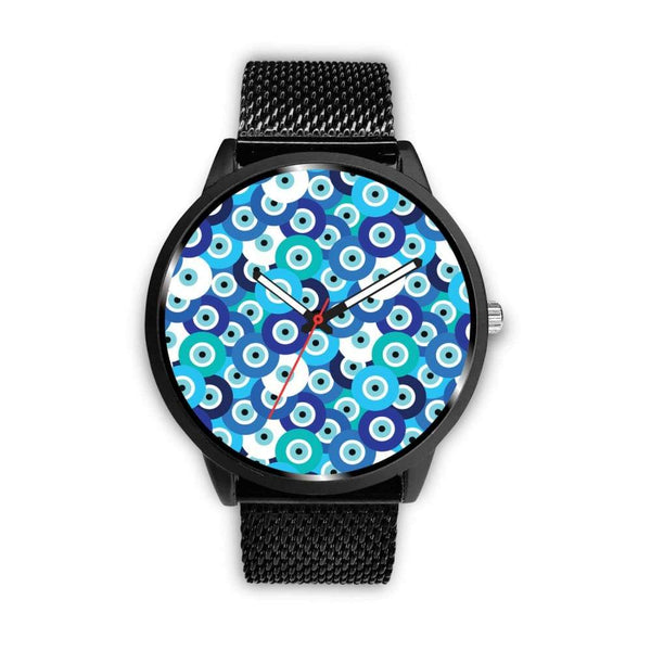 Evil Eye Design Multi Turkish Evil Eye Pattern Custom-Designed Wrist Watch - Mens 40Mm / Metal Mesh - Watch