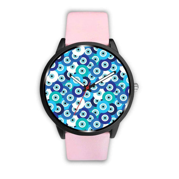 Evil Eye Design Multi Turkish Evil Eye Pattern Custom-Designed Wrist Watch - Mens 40Mm / Pink - Watch