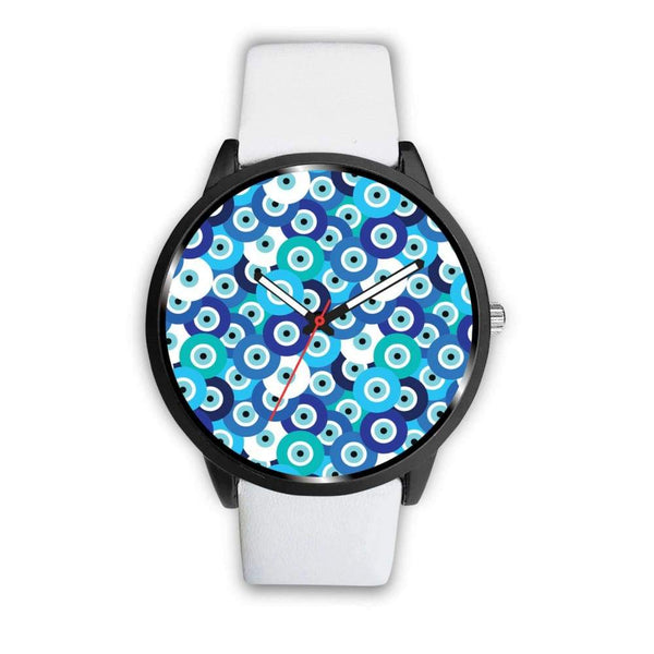 Evil Eye Design Multi Turkish Evil Eye Pattern Custom-Designed Wrist Watch - Mens 40Mm / White - Watch