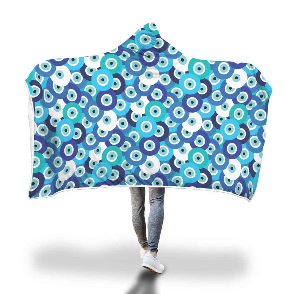 Evil Eye Design Multi Turkish Evil Eye Pattern Hooded Snuggle Meditation Blanket - Hooded Blanket
