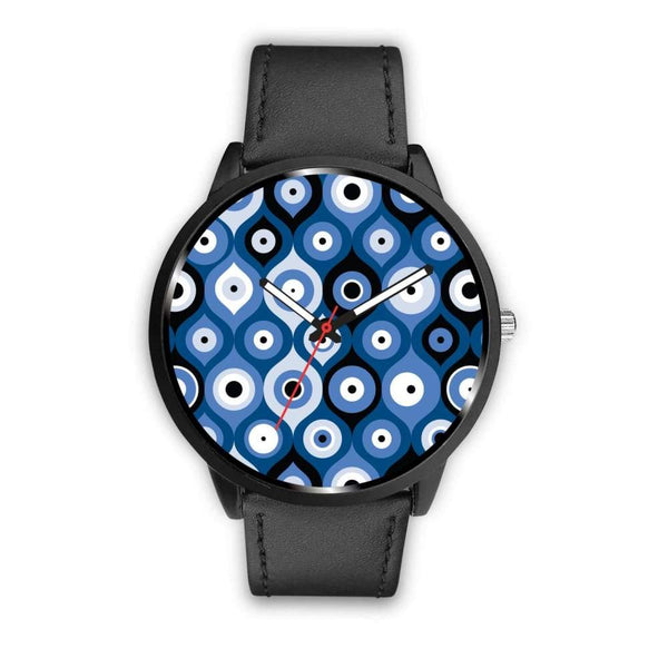 Evil Eye Geometric Design Multi Turkish Evil Eye Pattern Custom-Designed Wrist Watch - Mens 40Mm / Black - Watch