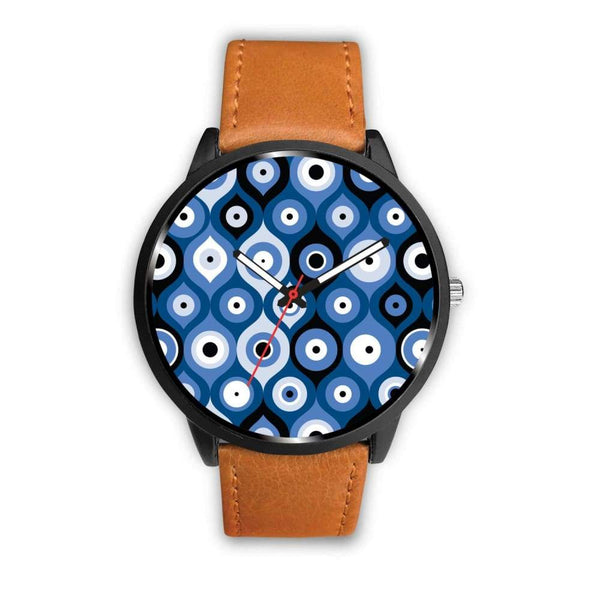 Evil Eye Geometric Design Multi Turkish Evil Eye Pattern Custom-Designed Wrist Watch - Mens 40Mm / Brown - Watch