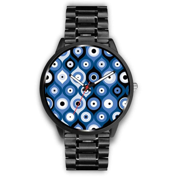 Evil Eye Geometric Design Multi Turkish Evil Eye Pattern Custom-Designed Wrist Watch - Mens 40Mm / Metal Link - Watch
