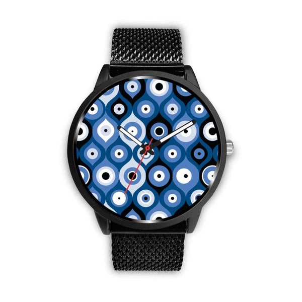 Evil Eye Geometric Design Multi Turkish Evil Eye Pattern Custom-Designed Wrist Watch - Mens 40Mm / Metal Mesh - Watch